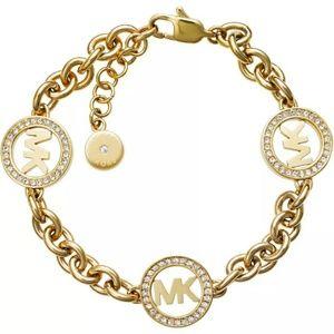 Michael Kors Womens Logo Gold Tone Bracelet